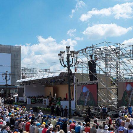 Allestimento palco per visita Papa - Torino - Coperture su misura - Venturello
