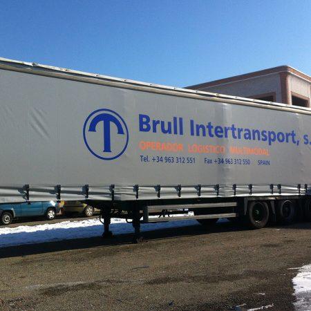 BRULL INTERTRANSPORT Telone camion centinato alla francese con tenditori e personalizzazione vinilica - Teloni per camion - Venturello
