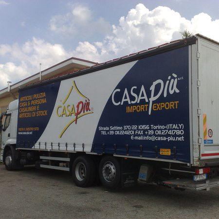 CASAPIU - Telone per camion centinato alla francese Tetto copri-scopri personalizzato in quadricromia vinilica - Teloni per camion - Venturello