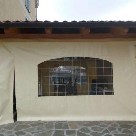 Telone scorrevole con finestra in Cristal a quadri e porta con cerniere - Venturello