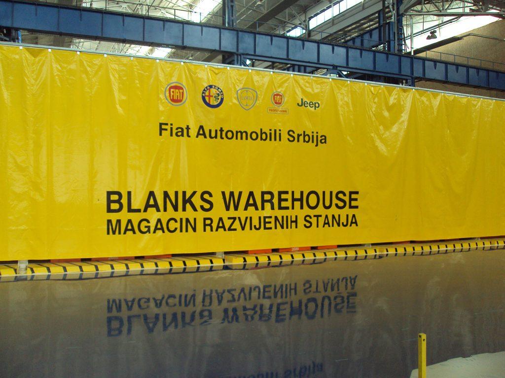 Teloni per pareti divisorie stabilimento FIAT